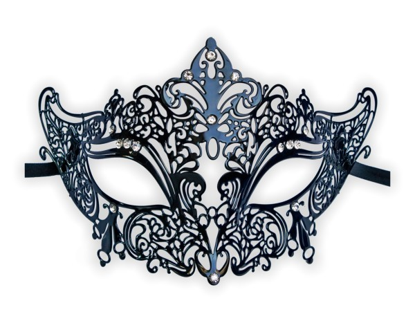 Filigree Venetian Metal Mask 'Noble Black'