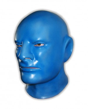 Blue Latex Mask Full Over The Head